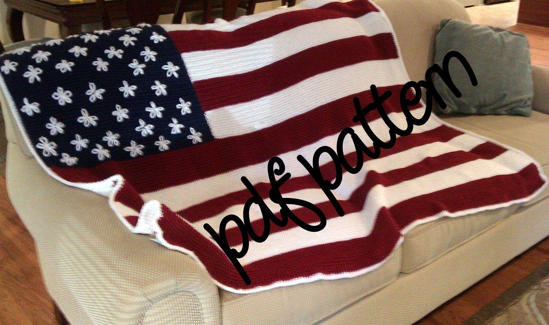Must do this! PDF Crochet Pattern - Intermediate - American Flag ...