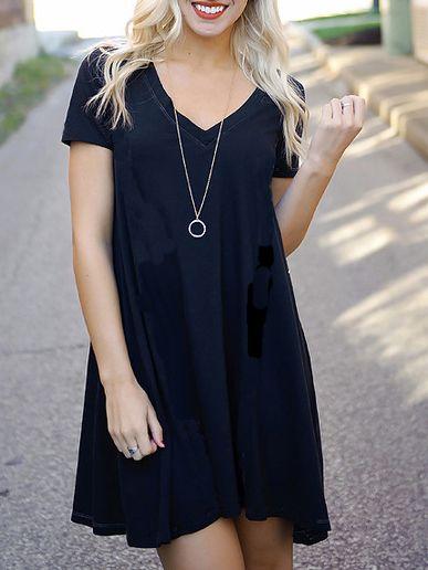 Vestido+cuello+V+manga+corta+suelto+-negro+13.37  ac1596dc73f28
