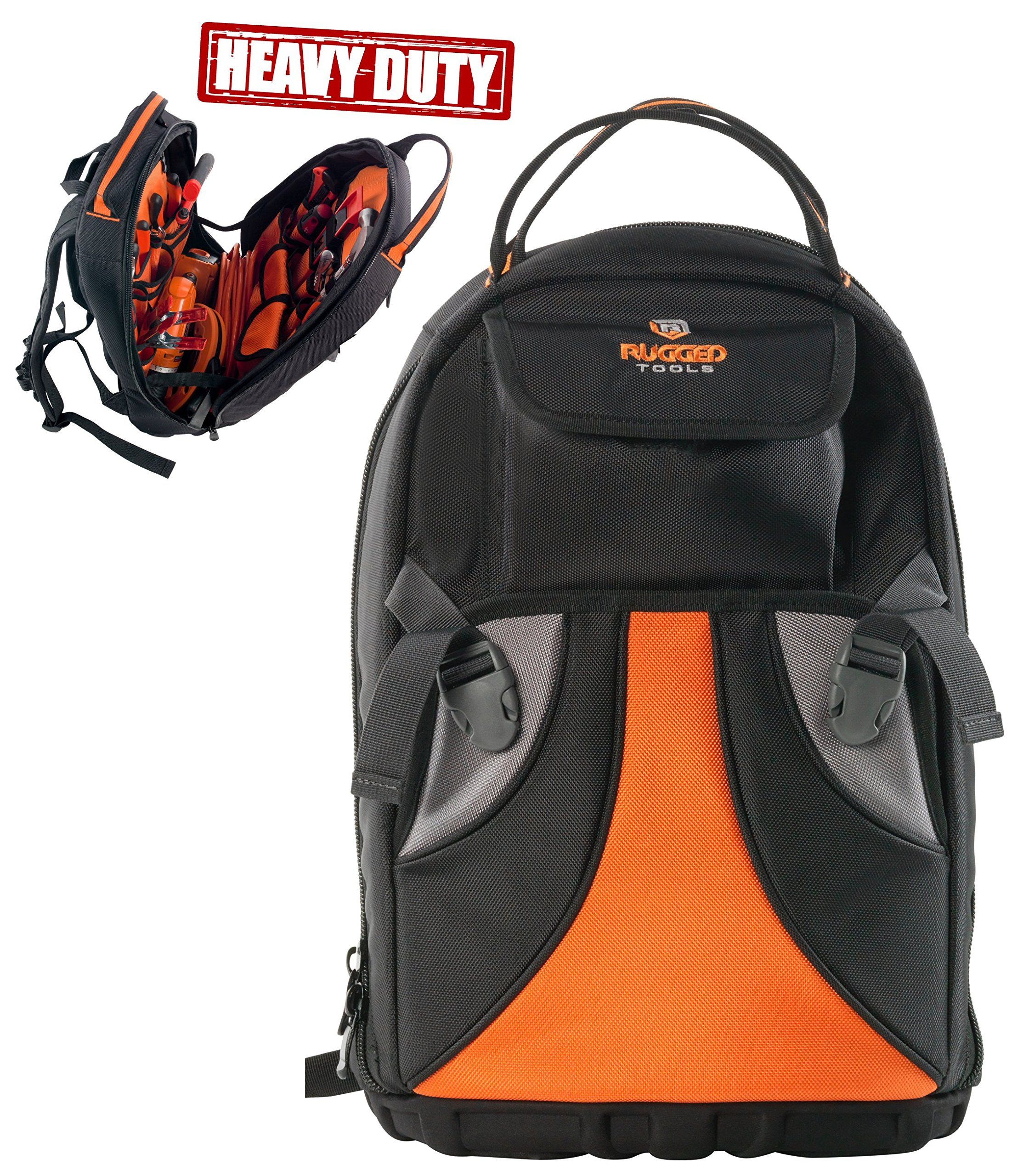 Black//Orange Plumber Rugged Tools Tradesman Tool Backpack 28 Pocket Heavy Duty Jobsite Tool Bag Perfect Storage /& Organizer for a Contractor Electrician HVAC Cable Repairman