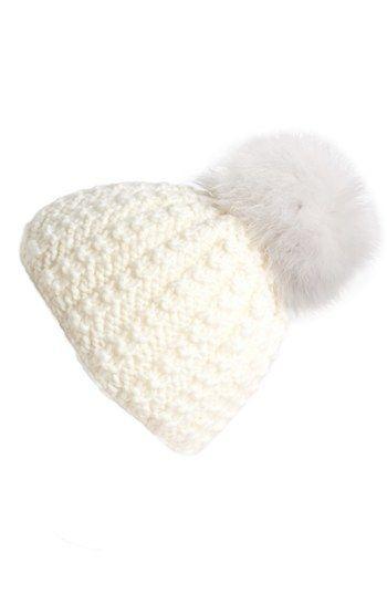 020bddf821504 Kyi Kyi Genuine Fox Pompom Hat