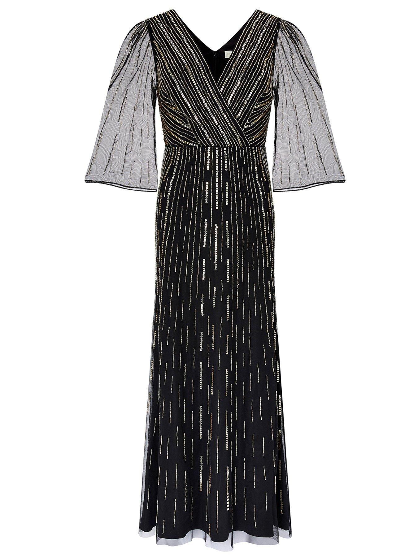 Lizzie Linear Embellished Maxi Dress - Black #blackmaxidress