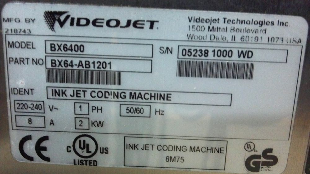 Bx6400 Videojet Dual Head Printer Used In Good Condition Working Equipment Ebay Printer Conditioner Dual