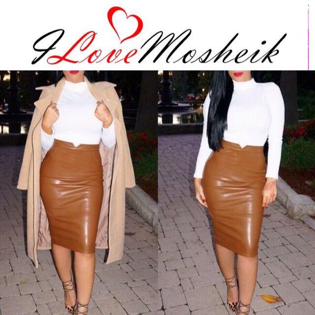 Tan Skirt #Shop Www.ILoveMosheik.com