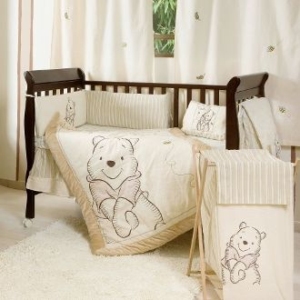 A Bear Named Winnie the Pooh 4 Piece Neutral Baby Crib Bedding Set