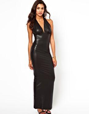 Image 1 ofClub L Wet Look Maxi Dress