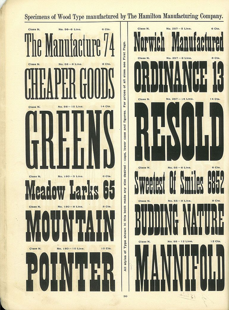Hamilton Wood Type Catalog 14 Year 1899 1900