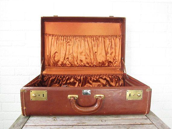 Vintage Caramel Leather Suitcase  Brown Tan Hard by LaRouxVintage, $52.00
