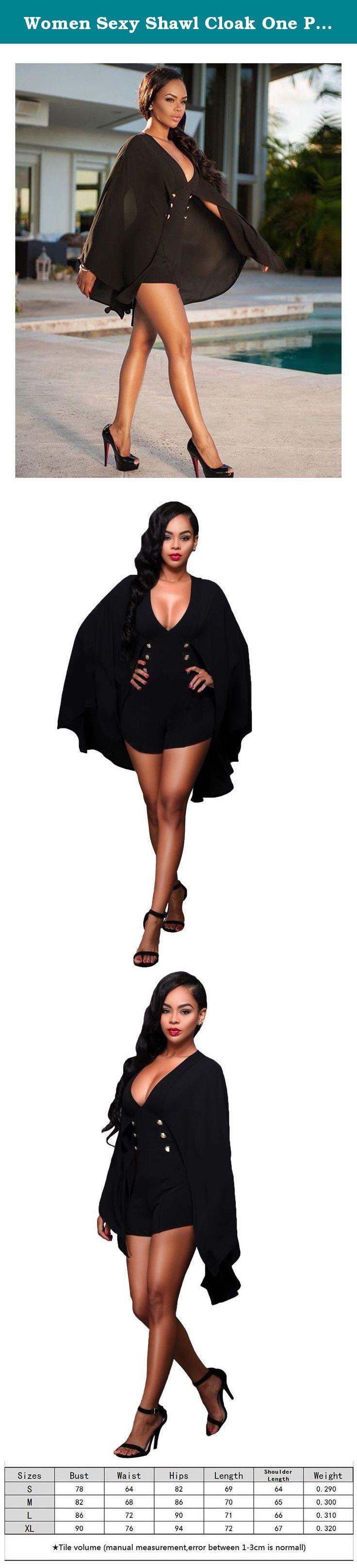 00fbe3fcd709 Women Sexy Shawl Cloak One Piece Jumpsuit Shorts Rompers Clubwear Black XL.  Fair Warning