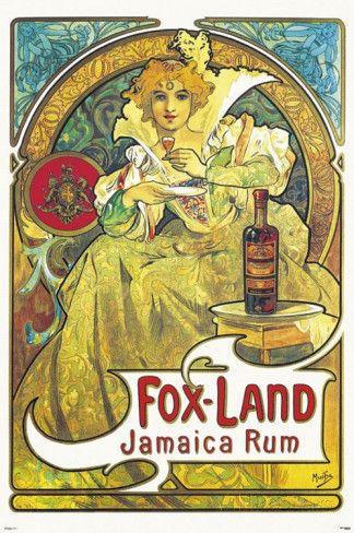 Fox Land Jamaica Rum Alphonse Mucha Art Art Nouveau Poster