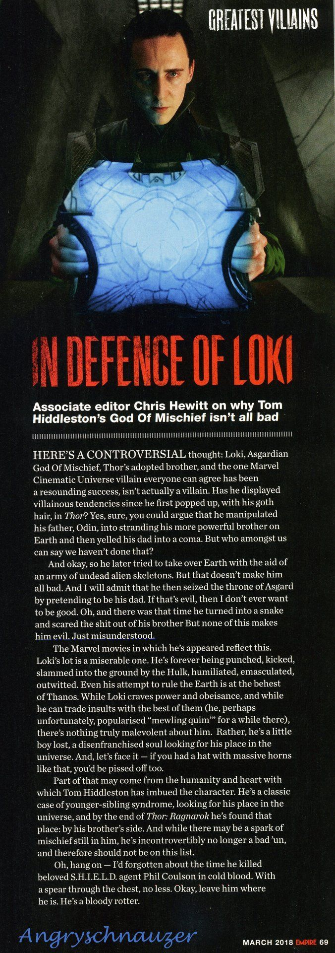 Empire MagazineS Top  Villains Of All Time  Loki March