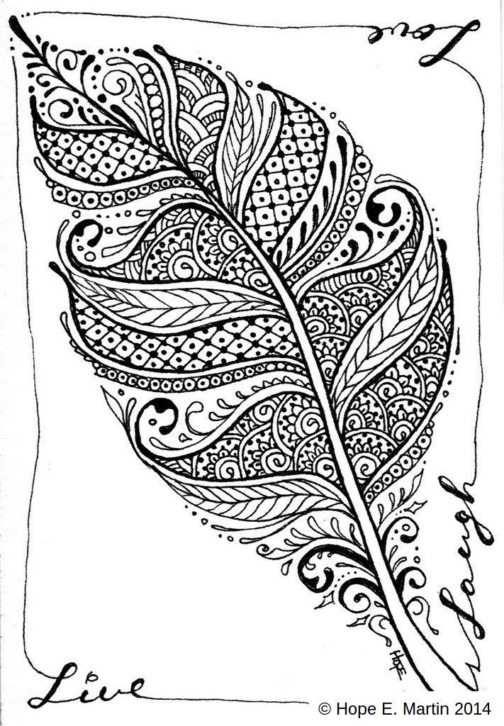 Coloring Page Feather 001 Jpg 711 1024 Zentangle Kunst Zentangle Zeichnungen Linienzuge