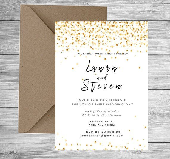 Reception Invitation Gold Wedding Evening Invitation Confetti