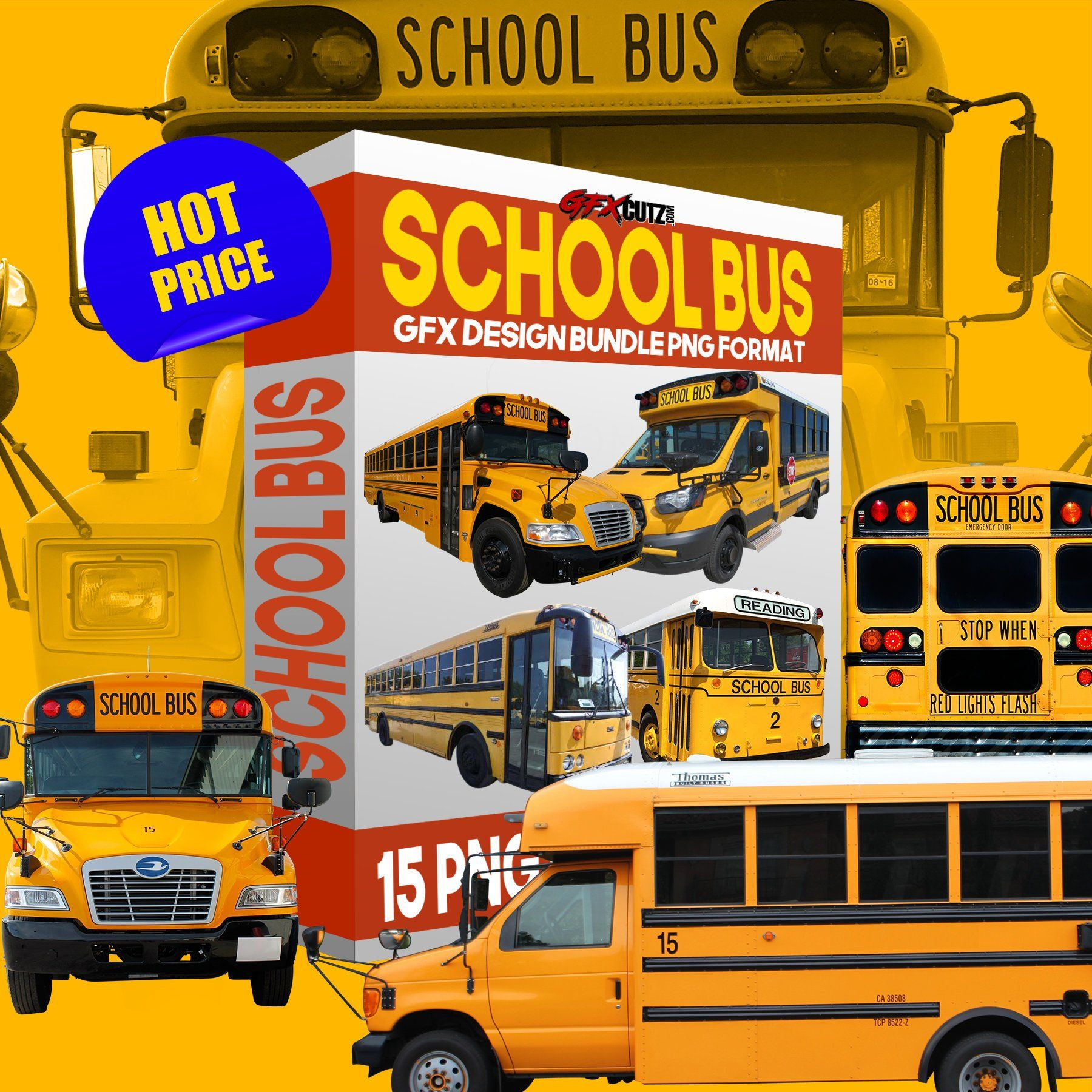 Illustrated Yellow School Bus Over White Isolated Cartoon With A