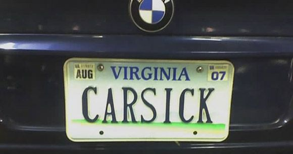 funny license plates - CAR SICK Just a good quality license plate  I