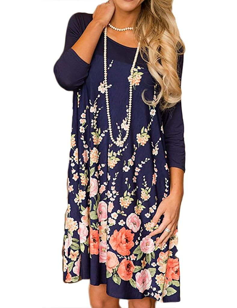 Minipeach Women S Floral Print Crew Neck Long Sleeve T Shirt Dresses With Pockets Shop2online Best Woman S Fashion Products Designed To Provide Floral Print Midi Dress Dresses Floral Print Shorts [ 1024 x 788 Pixel ]