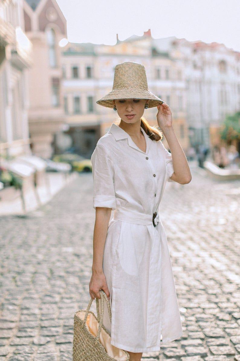 Casablanca Linen Dress White Linen Dress Shirt Dress Linen Half Sleeves Dress Classic Midi Dres Classic Midi Dress Half Sleeve Dresses Dresses With Sleeves [ 1191 x 794 Pixel ]