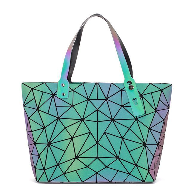 Luminous Sac Women Bag Diamond Tote Geometric Quilted Shoulder Bags Laser Plain Folding Handb Luminous Sac Women Bag Diamond Tote Geometric Quilted Shoulder Bags Laser Pl...
