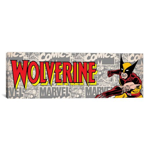 icanvas wolverine on logo pan by marvel comics graphic art on icanvas wall art id=93265