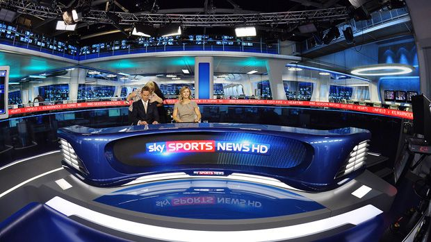 Photograph taken from just in front of the main camera positions within the Sky Sports News studio (2011). This shot illustrates the  extra depth provided by our backdrop environment.