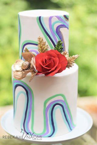 Funky Inlaid Fondant Cake
