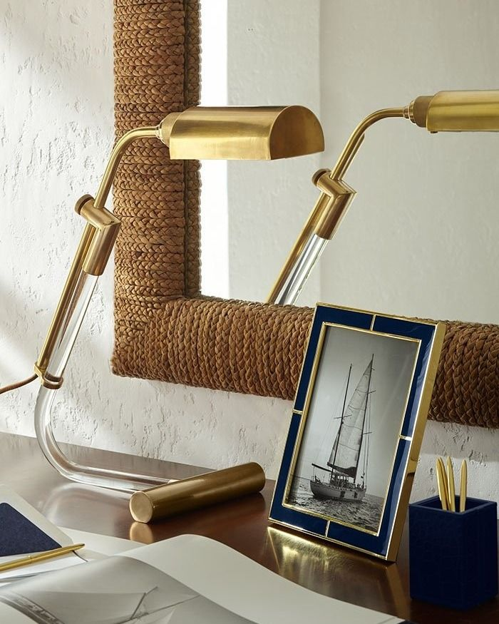 A Balance Of Crystal And Brass Brings Light To A Work Space The Ralph Lauren Home Warner Pharmacy Table Lamp Lamp Ralph Lauren Home Table Lamp