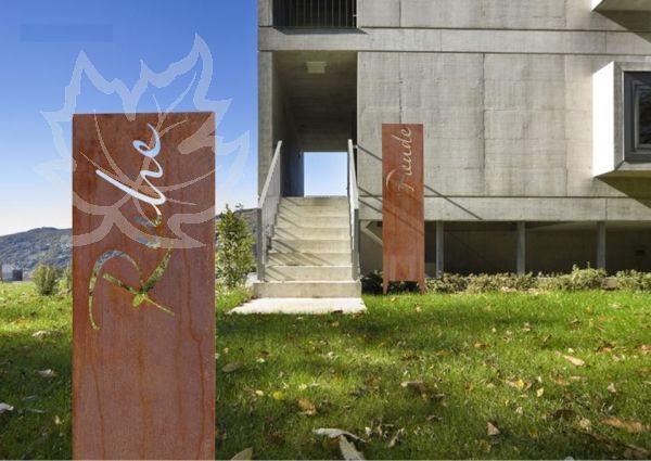 Cortenstahl-Stele mit Motiv Ruhe Garten Pinterest