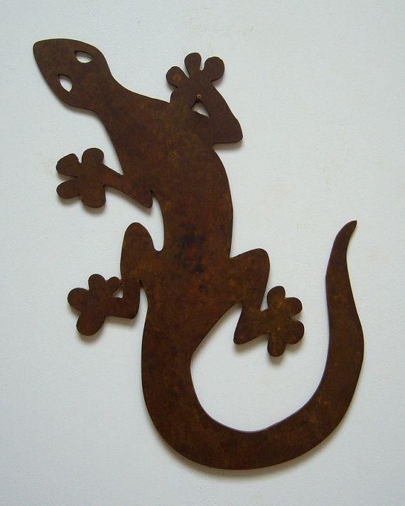 gecko m u00e9tal art d u00e9coration murale pour lint u00e9rieur ou  u00e0 lext u00e9rieur  fait dacier de calibre 14