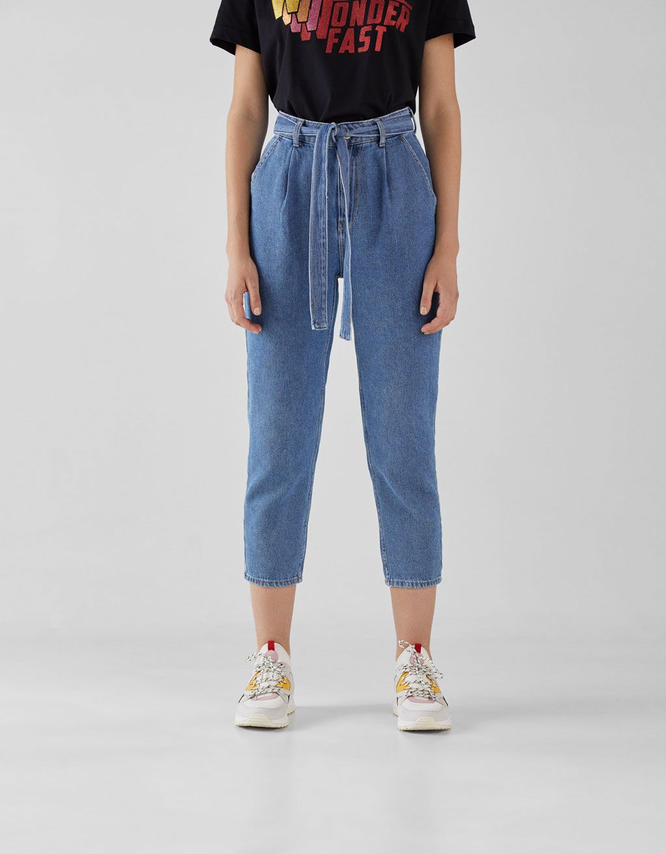 Jeans Paper Bag Con Cinturon Ropa Pantalones Bershka Ropa Tumblr