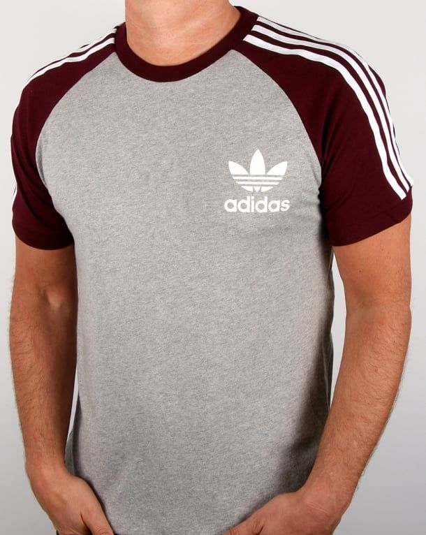 ef12f4e11533 Adidas Originals Retro 3 Stripes T-shirt Light Grey maroon