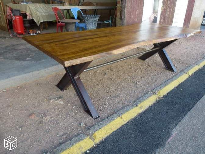 Table bureau industriel en fer et bois de 250 cm ameublement paris