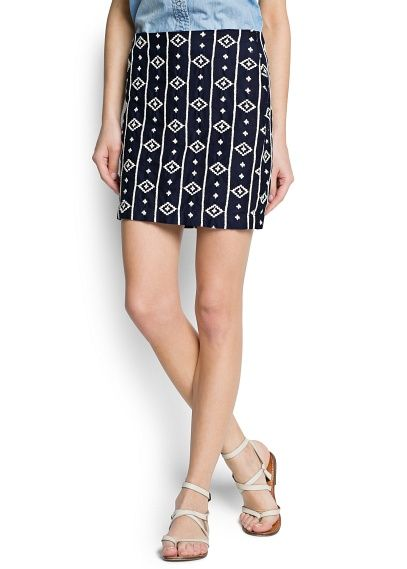 ethnic embroidered cotton skirt | mango