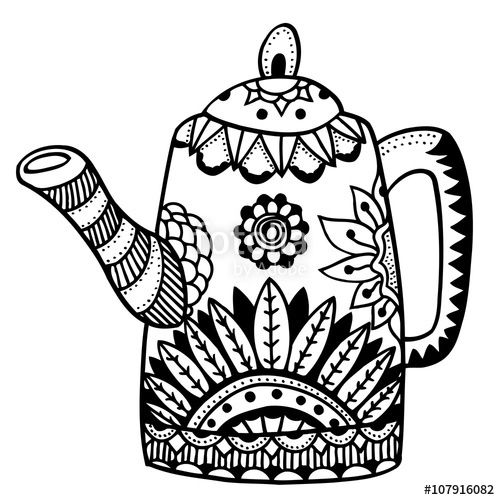 Coffee Pot Coloring Page Chajnaya Pinterest Coloring Pages Tea