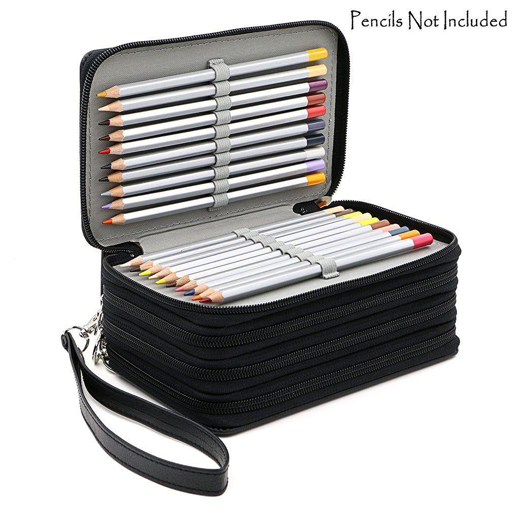 72 Houders 4 Lagen Handy PU Lederen School Potloden Case Grote Capaciteit Kleurpotlood Tas Voor Student Gift Kunst Levert