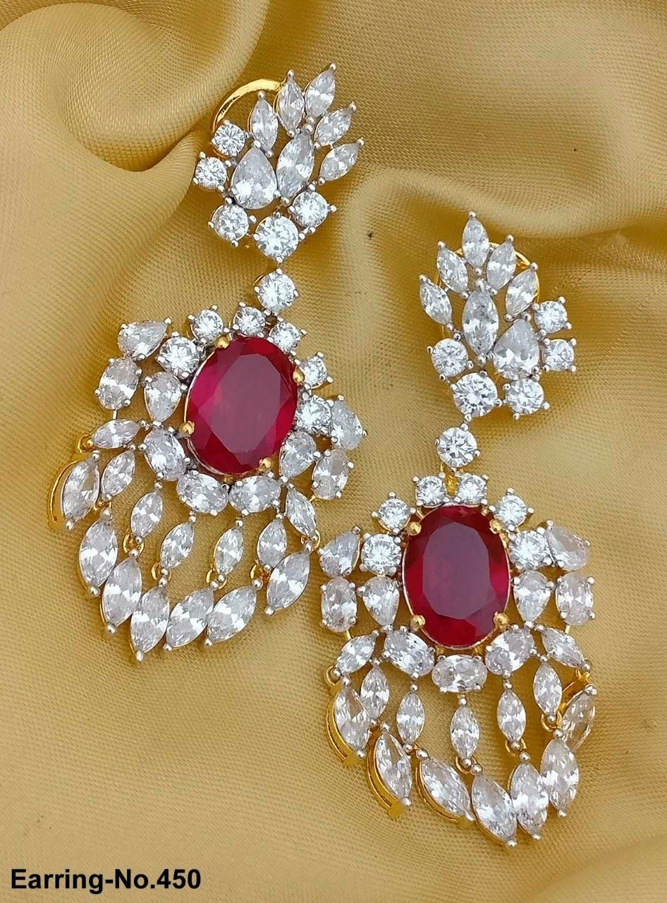808aedb8b American Diamond Party Earrings. Beautiful Wedding Earrings. Rama Creations  Manufacturer & Wholesalers of Imitation Bridal Jewellery in India.