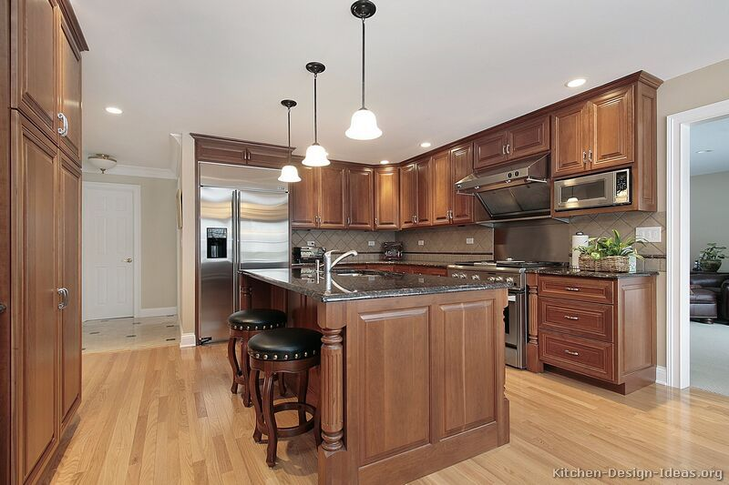 Pictures Of Kitchens Traditional Medium Wood Cabinets Brown Brown Kitchen Cabinets Kitchen Design Dark Wood Kitchens