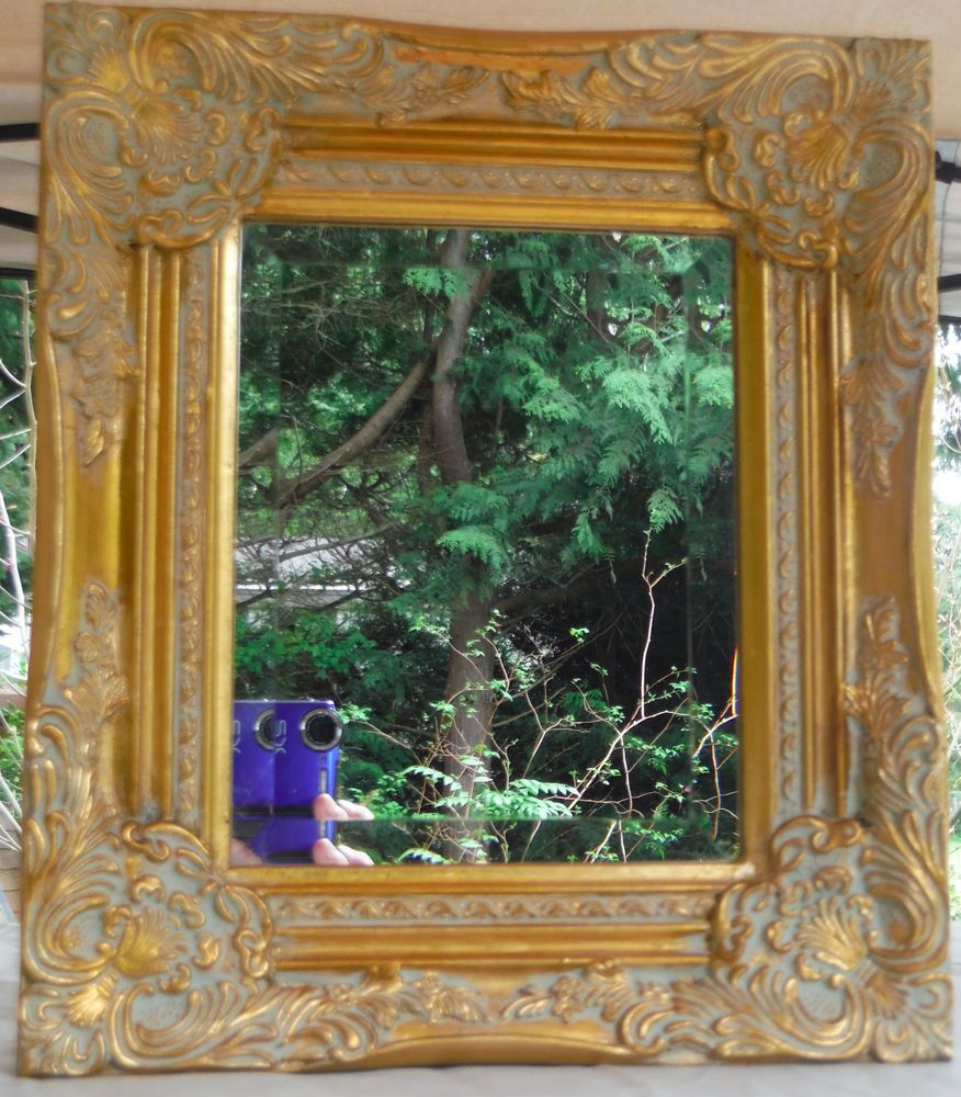 Ornate Gold Gilt Gesso Wood Frame Bevelled Mirror Reproduction ...