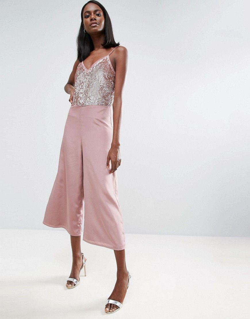 19af1d59a92f ASOS Sequin Jumpsuit with Raw Edge Detail and Culotte Leg - Pink ...