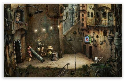 Alley Machinarium Game Wallpaper Amanita Design Steampunk Art Steampunk Games