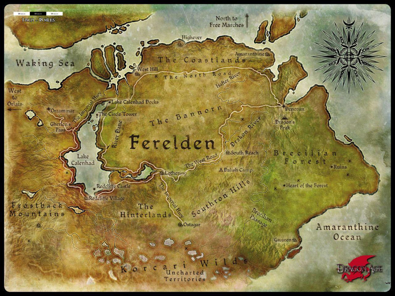 Dragon Age Fereldan Map Google Search Dragon Age Dragon Age