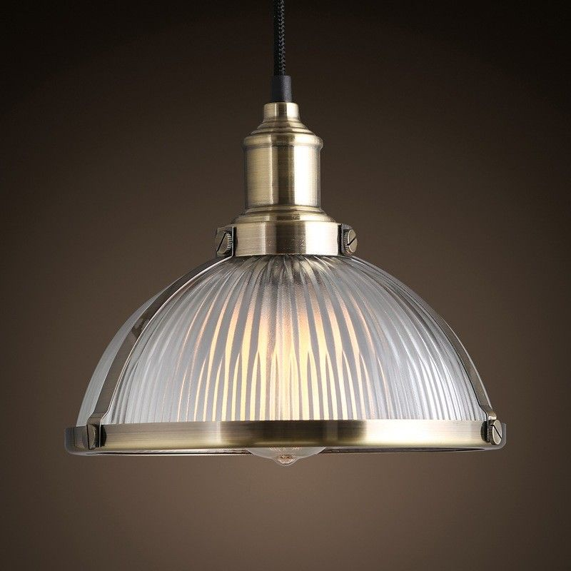 Industrial Prismatic Ribbed Glass Round Dome Pendant Light