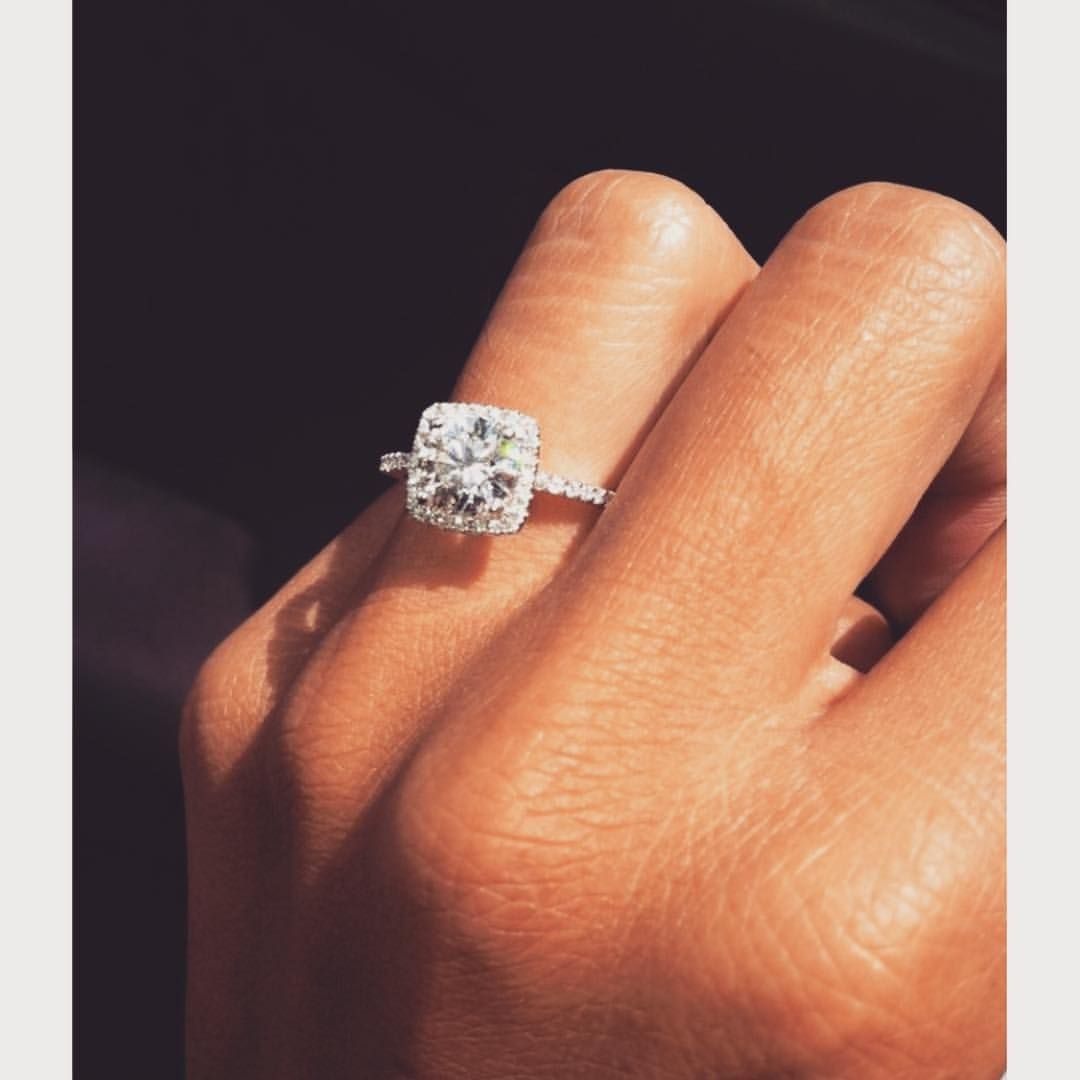 Y E S !  Loveee this cushion cut halo - lucky girl!! #engaged #engagement #engagementring #diamond #diamonds #cushioncut #haloring #thinband #stunning #bridetobe #weddingdaywhispers  via Pinterest