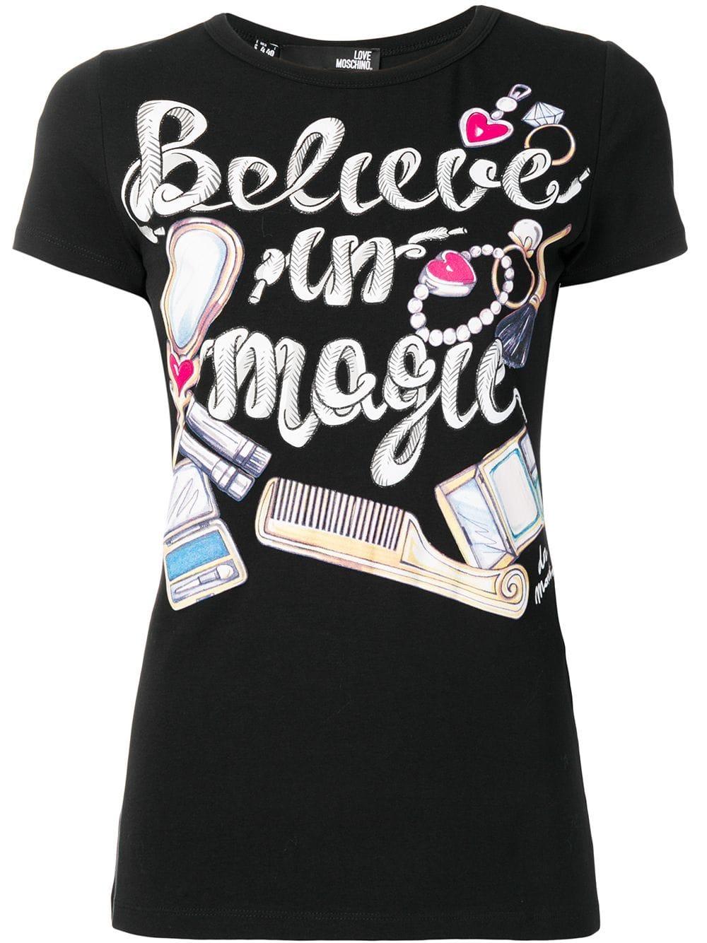 Love Moschino Printed T Shirt Black Print T Shirt Black Shirt Moschino