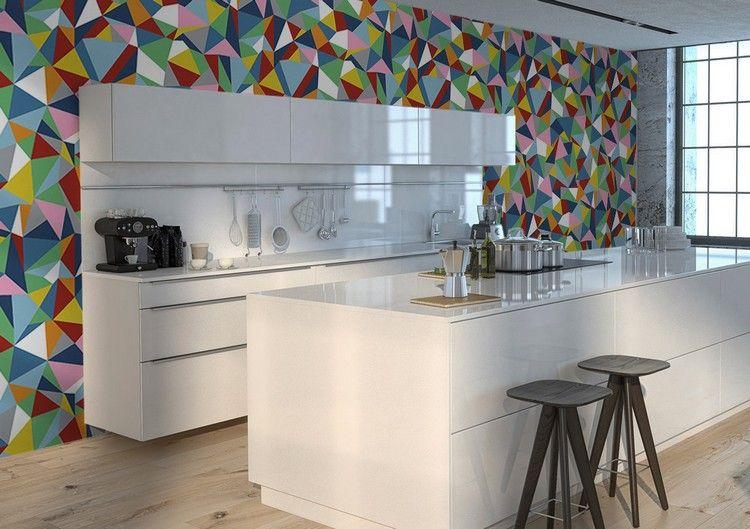 moderne tapete f r k che mit geometrischem muster ideen rund ums haus pinterest tapete. Black Bedroom Furniture Sets. Home Design Ideas