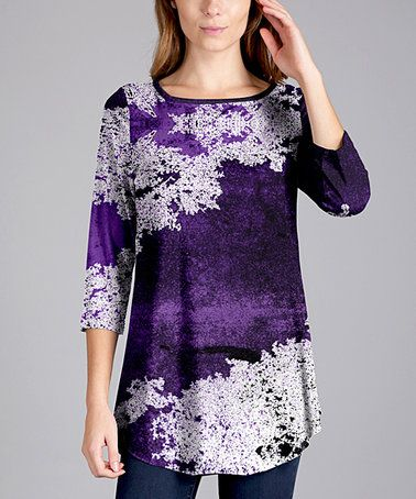 Loving this Purple & White Floral Three-Quarter Sleeve Tunic - Plus Too on #zulily! #zulilyfinds