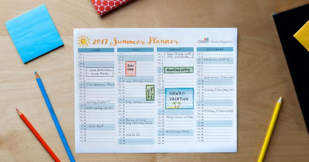 2017 Cozi Summer Planner - the entire summer on ONE SHEET! Get Cozi