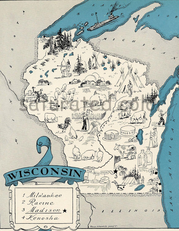 Wisconsin Map Vintage High Res Digital Image Of A 1930s Vintage