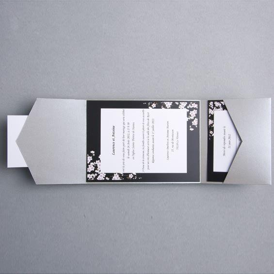 Faire Part Mariage Noir Et Blanc Moderne Pochette Argentee