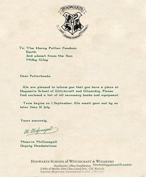 Hogwarts Acceptance Letter Harry Potter Pinterest