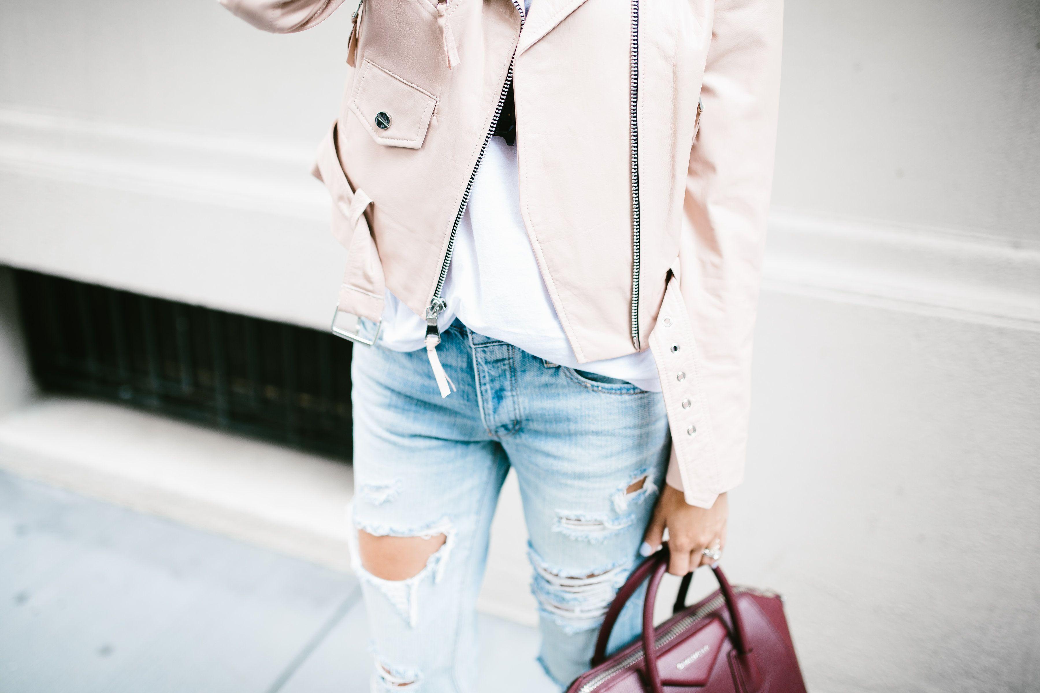 Blush Jacket + Distressed Denim - Mckenna Bleu