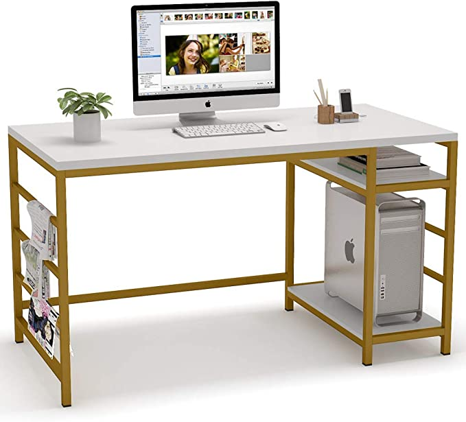 Amazon Com Tribesigns Computer Desk With Storage Shelves 55 Inch Large Computer Table Study Writing Desk With Towe Desk Storage Computer Table Computer Desk